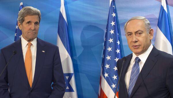 Secretario de Estado de EEUU, John Kerry y primer ministro de Israel, Benjamín Netanyahu durante un encuentro en Jerusalén (archivo) - Sputnik Mundo