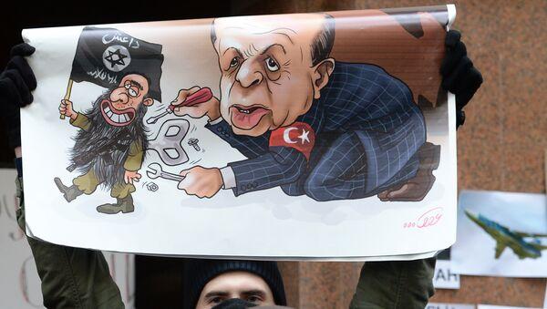 Un manifestante sostiene un cartel con caricatura de Erdogan durante protesta contra las acciones de Turquía, que derribó un Su-24 ruso (archivo) - Sputnik Mundo