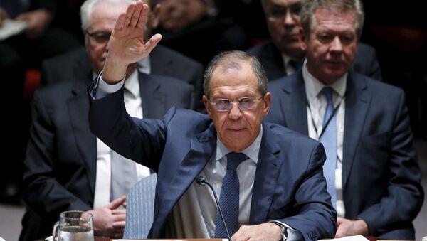 Serguéi Lavrov, ministro ruso de Asuntos Exteriores, durante la votación en el Consejo de Seguridad de la ONU - Sputnik Mundo