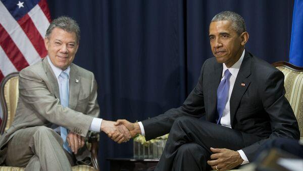 Presidente de Colombia, Juan Manuel Santos y presidente de EEUU, Barack Obama - Sputnik Mundo