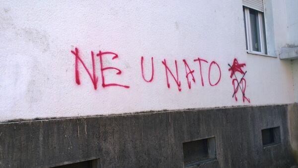 Anti-OTAN graffiti en Montenegro - Sputnik Mundo