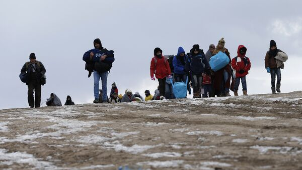 Migrants walk through a frozen field after crossing the border from Macedonia - Sputnik Mundo
