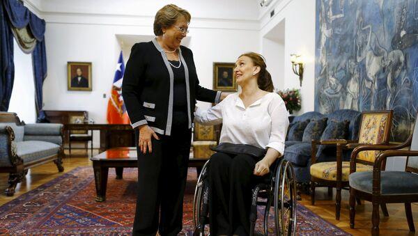 Michelle Bachelet, presidenta de Chile, y Gabriela Michetti, vicepresidenta de Argentina - Sputnik Mundo