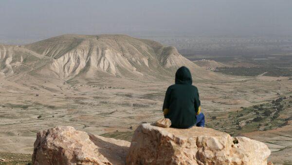 A Palestinian man sits on a rock at Jordan Valley near the West Bank city of Jericho January 21, 2016. - Sputnik Mundo