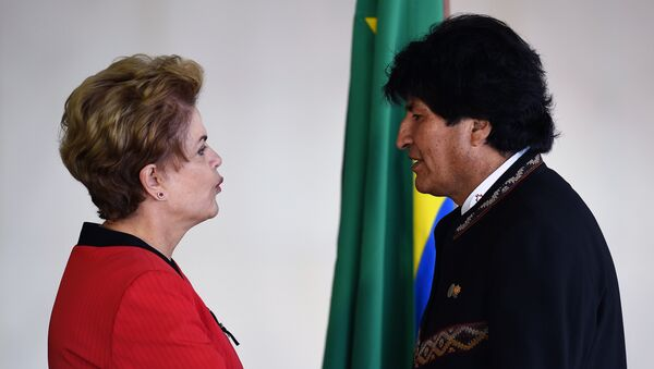 La expresidenta de Brasil, Dilma Rousseff, y el expresidente de Bolivia, Evo Morales (archivo) - Sputnik Mundo