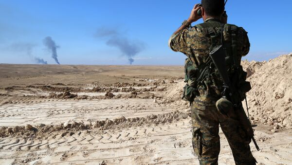 Un combatiente vigila la frontera entre Siria e Irak - Sputnik Mundo