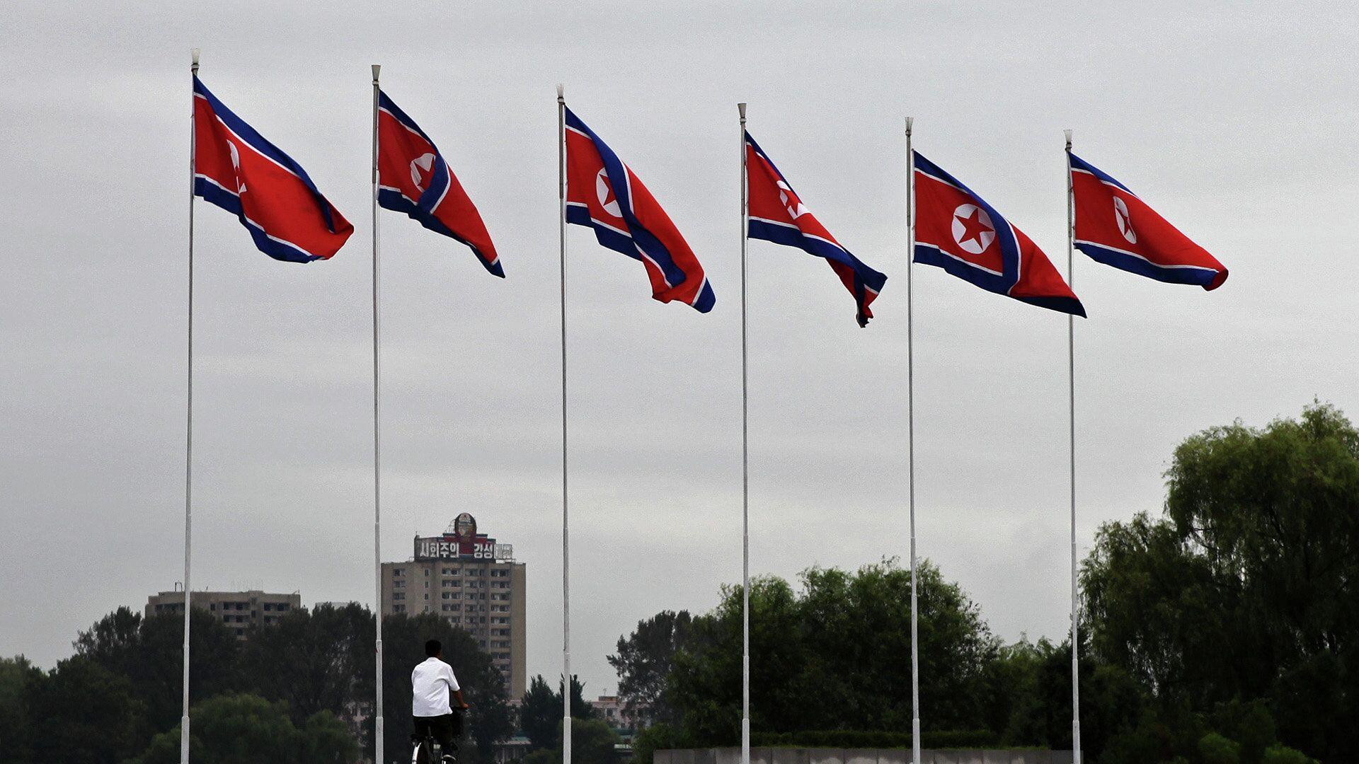 Banderas de Corea del Norte en Pyongyang - Sputnik Mundo, 1920, 02.10.2021