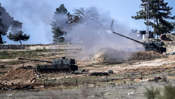 Los cañones autopropulsados turcos en la frontera con Siria - Sputnik Mundo