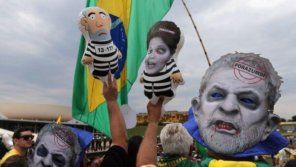 Manifestación en contra de Luiz Inácio Lula da Silva, el expresidente de Brasil, y la presidenta actual, Dilma Rousseff - Sputnik Mundo