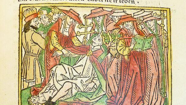 Representación medieval de la muerte de la papisa Juana - Sputnik Mundo