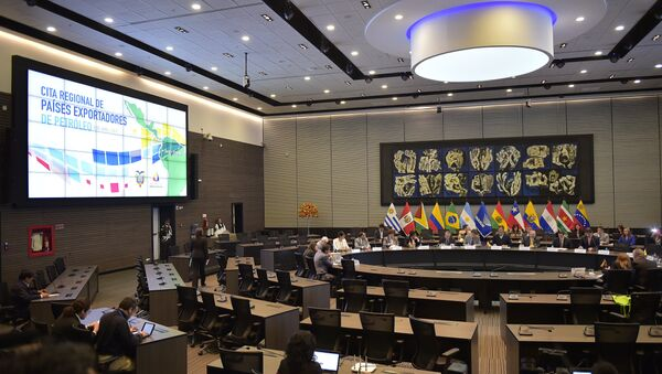 General view of the meeting of ministers and delegates of five Latin American petroleum producing countries -Venezuela, Ecuador, Mexico, Colombia and Bolivia- in Quito on April 6, 2016. - Sputnik Mundo