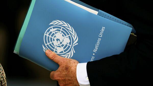 El logo de la ONU en una carpeta - Sputnik Mundo