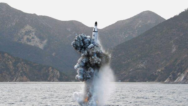 Lanzamiento de un misil desde un submarino por Pyongyang (archivo) - Sputnik Mundo