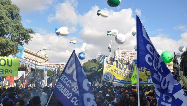 Manifestación sindical contra el Gobierno argentino - Sputnik Mundo