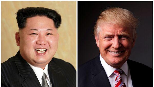 Kim Jong-un, líder de Corea del Norte y Donald Trump, presidente electo de EEUU - Sputnik Mundo