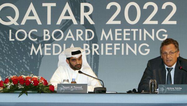 Presidente del Comité Organizador del Mundial Catar-2022, Hassan Al Thawadi, y exscretario general de la FIFA, Jerome Valcke - Sputnik Mundo