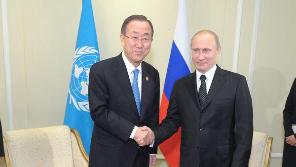 Vladímir Putin, presidente de Rusia, y Ban Ki-moon, secretario general de la ONU (archivo) - Sputnik Mundo