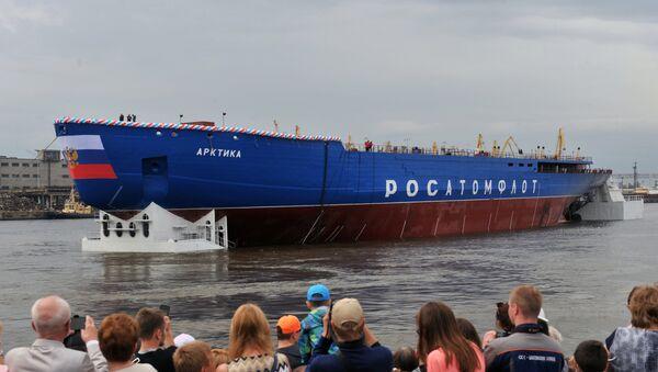 Спуск на воду головного атомного ледокола проекта Арктика в Санкт-Петербурге - Sputnik Mundo