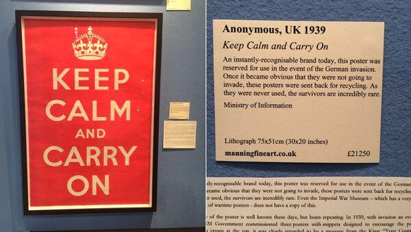 El póster original de 'Keep Calm and Carry On' a la venta por un valor de casi 30.000 dólares. - Sputnik Mundo