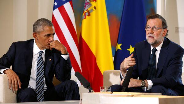 El presidente de EEUU Barack Obama y el jefe del Ejecutivo en funciones, Mariano Rajoy, durante reunión en el palacio de Moncloa - Sputnik Mundo