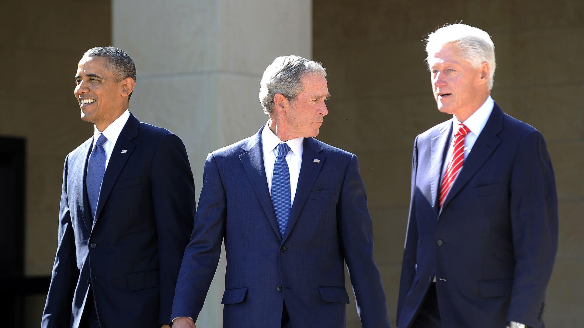 Presidente de EEUU, Barack Obama, y expresidentes George W. Bush y Bill Clinton - Sputnik Mundo, 1920, 11.03.2021