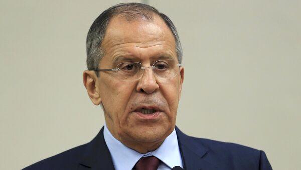 El canciller ruso Serguéi Lavrov en una rueda de prensa - Sputnik Mundo