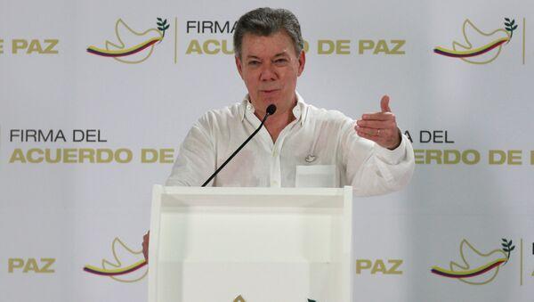 Juan Manuel Santos, presidente de Colombia, durante una conferencia de prensa el 25 de septiembre de 2016, en Cartagena - Sputnik Mundo