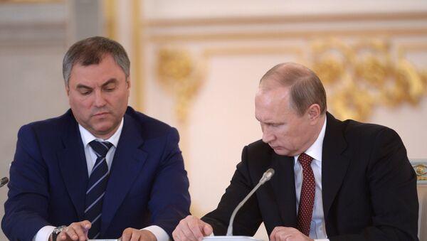 Vladímir Putin y Vladislav Volodin - Sputnik Mundo