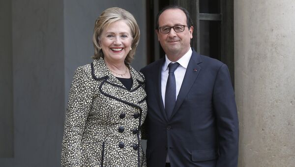 Hillary Clinton y Francois Hollande - Sputnik Mundo