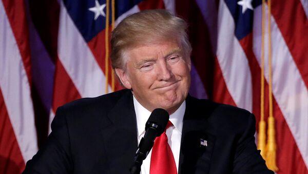 U.S. President-elect Donald Trump speaks at election night rally in Manhattan, New York, U.S., November 9, 2016 - Sputnik Mundo