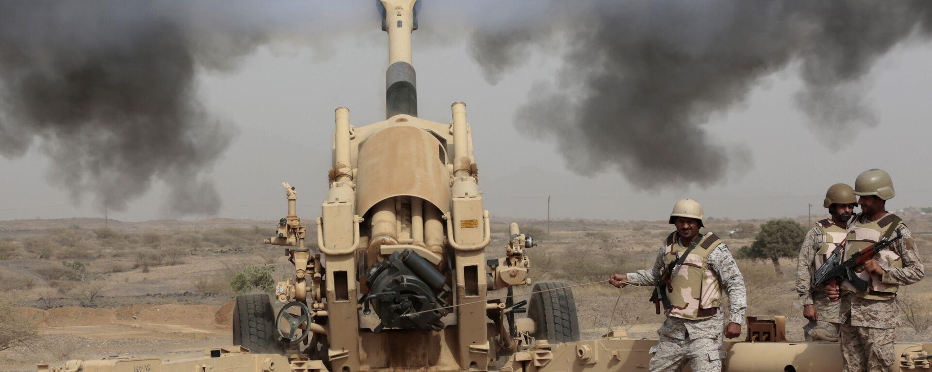 Artillería saudí durante operaciones de combate en la frontera con Yemen - Sputnik Mundo, 1920, 20.02.2021