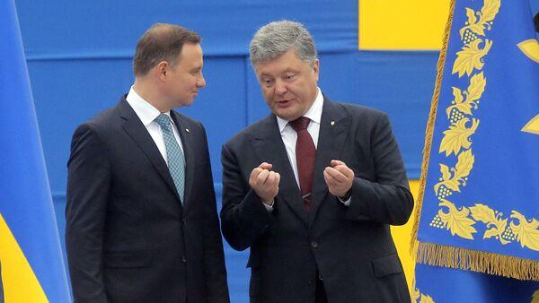 Andrzej Duda, presidente de Polonia, y Petró Poroshenko, presidente de Ucrania - Sputnik Mundo
