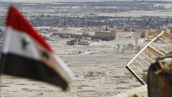 La bandera de Siria en Palmira - Sputnik Mundo