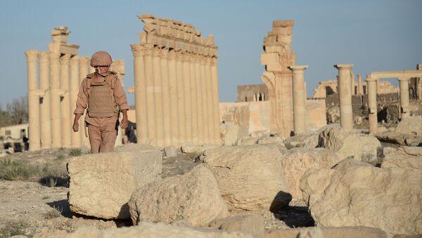 Un soldado en la parte histórica de Palmira, Siria (archivo) - Sputnik Mundo