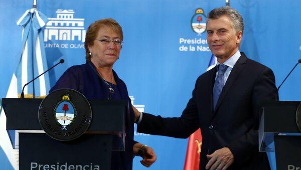 Presidenta de Chile, Michelle Bachelet, y presidente de Argentina Mauricio Macri - Sputnik Mundo