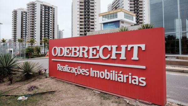 El logotipo de la constructora brasileña Odebrecht en la Villa Olímpica de Río de Janeiro, Brasil - Sputnik Mundo