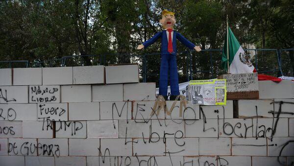 El muro de Trump de cartón y con lemas en su contra en la Ciudad de México - Sputnik Mundo
