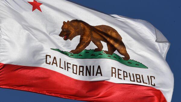 The California State flag flies outside City Hall, in Los Angeles, California on January 27, 2017. - Sputnik Mundo