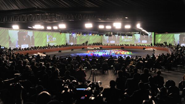 Leaders and representatives of developing countries participating in the UN's G77+China Summit attend the general assembly, in Santa Cruz, Bolivia, on June 15, 2014 - Sputnik Mundo