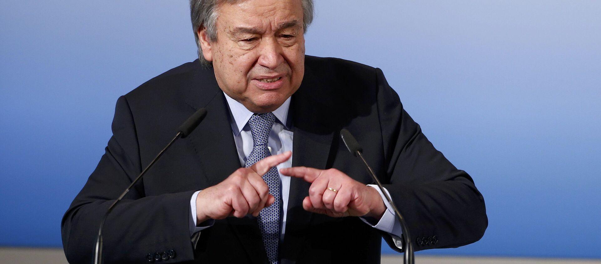 El secretario general de la ONU, António Guterres, pronuncia su discurso en la conferencia de Múnich - Sputnik Mundo, 1920, 21.01.2021