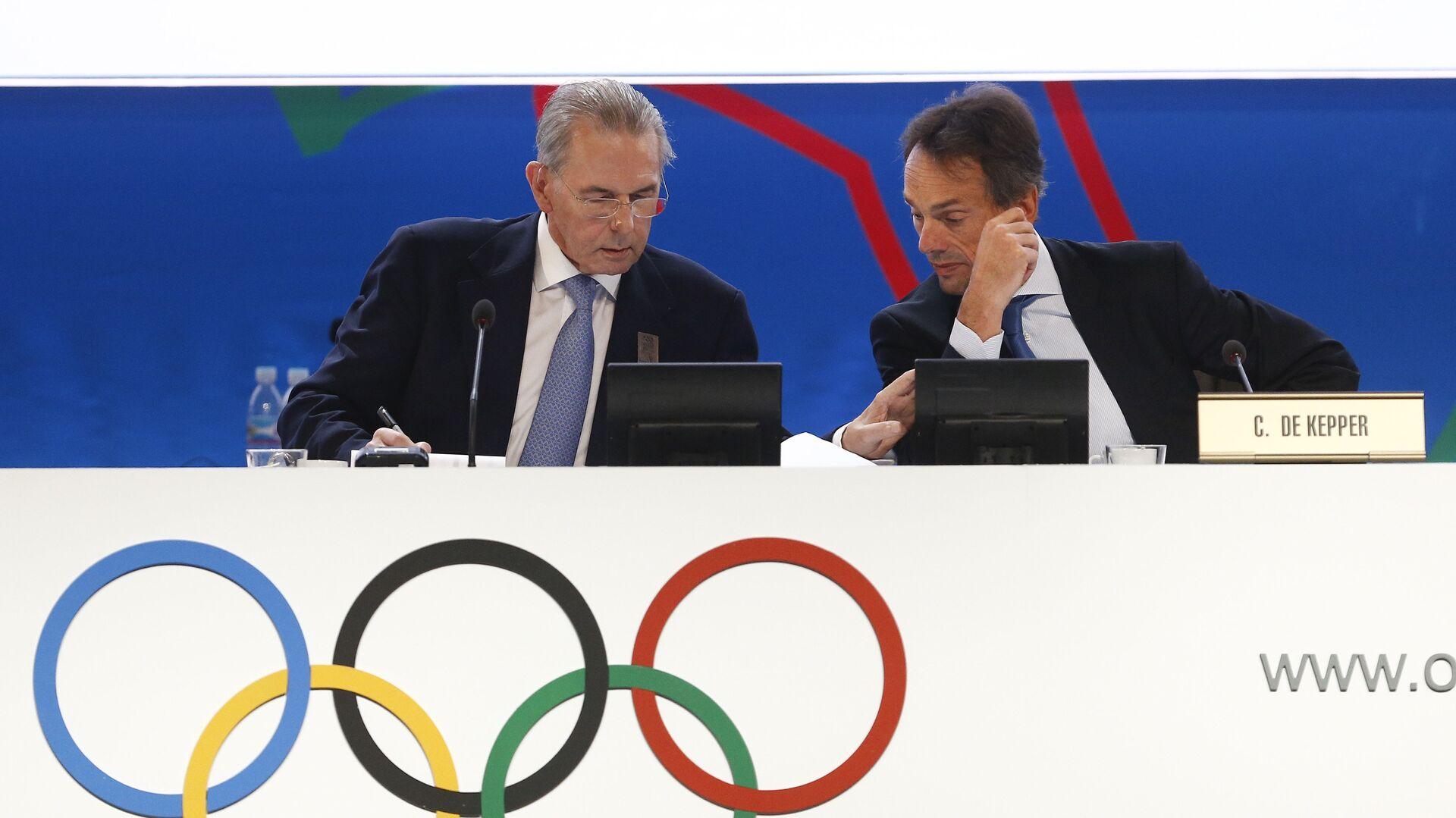 Jacques Rogge y Christophe De Kepper durante la 125 sesión del COI en Buenos Aires, Argentina, 9 de septiembre de 2013 - Sputnik Mundo, 1920, 29.08.2021