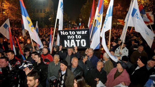Protestas contra la adhesión de Montenegro a la OTAN en Podgorica, 12 de diciembre de 2015. - Sputnik Mundo