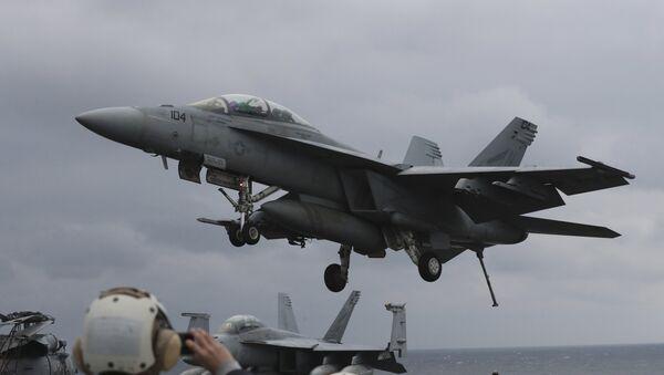 Un F/A-18 Hornet (archivo) - Sputnik Mundo