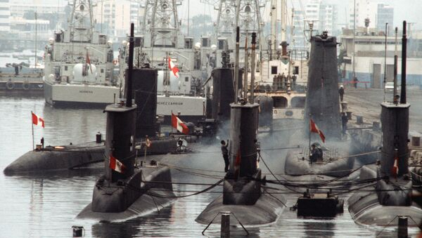 A view of Peruvian submarines and patrol craft moored in the port of Callao during Operation UNITAS XXV. - Sputnik Mundo