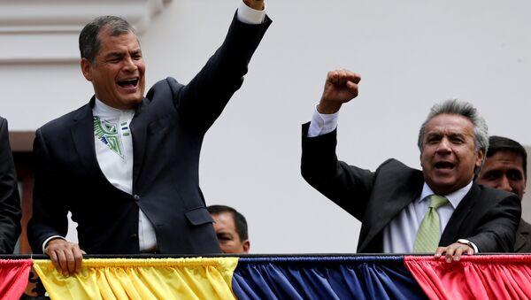 Presidente de Ecuador, Rafael Correa con ganador de las presidenciales, Lenin Moreno - Sputnik Mundo