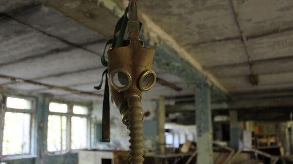 Máscara antigás en Chernóbil - Sputnik Mundo