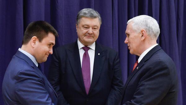 Pavló Klimkin, Petró Poroshenko y Mike Pence, imagen referencial - Sputnik Mundo