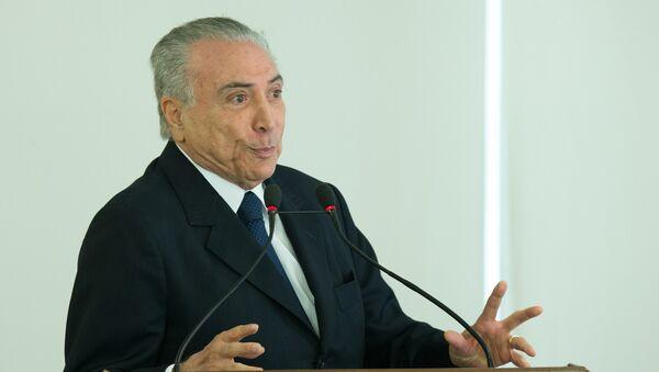 El presidente de Brasil, Michel Temer, durante una ceremonia oficial (Archivo) - Sputnik Mundo