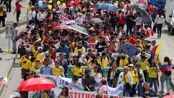 Maestros protestando en Bogotá, Colombia (archivo) - Sputnik Mundo