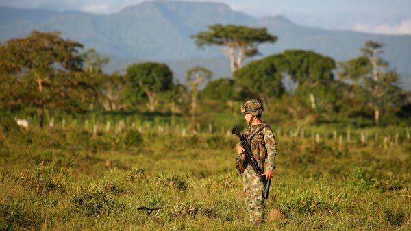 Un militar colombiano en una región ocupada por los guerrilleros de FARC - Sputnik Mundo